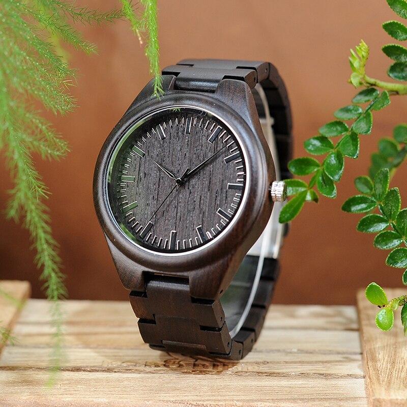 Original BOBO BIRD L-H05 Handmade Retro Design Wholesale Ebony Wooden Watches Men With Anti-allergy Clasp Japan Quartz Saat