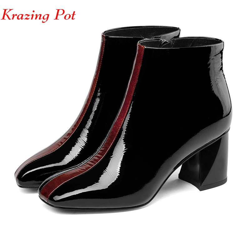 Krazing pot 2018 cow leather British chelsea boots strange square toe mixed color original design preppy style ankle boots L33 bs93 l33