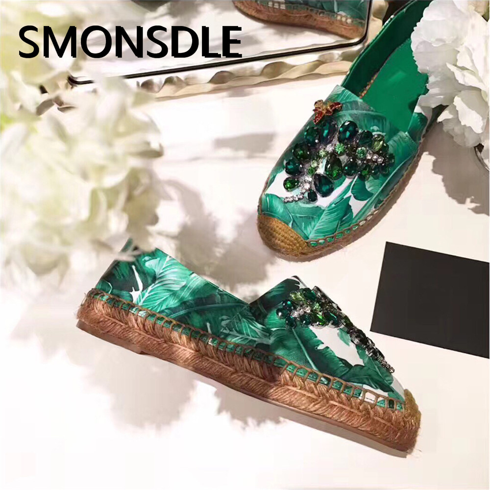SMONSDLE fashion women top quality casual flats shoes woman green leaves print with crystal flats women shoes slip on flats mint green casual sleeveless hooded top