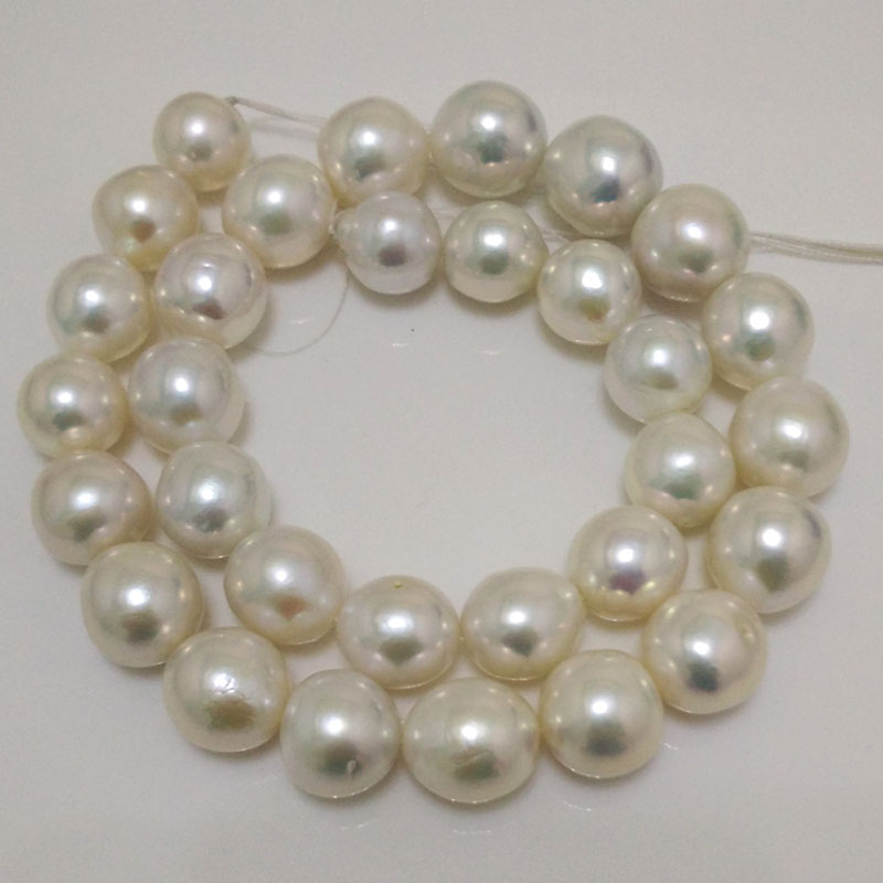 16 inches 12-14mm White AA+ Perfect Luster Round Edison Pearl Loose Strand for Necklace 16 inches aa 10 11mm natural white round freshwater pearl loos strand