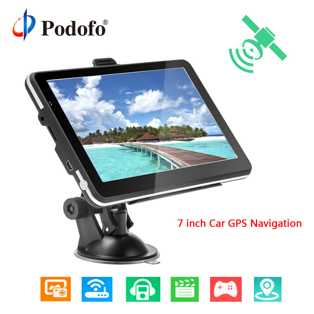 Podofo 7 inch HD Car GPS Navigation Map Free Upgrade Navitel Europe Sat nav Truck gps navigators automobile Vehicle Truck GPS 5 inch hd car gps navigation 800m fm 8gb ddr128m map free upgrade car gps navigator navitel europe sat nav truck gps automobile