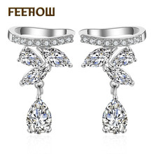 FEEHOW New Trendy Cubic Zirconia Star Snake Simple Sweet Earrings for Women Wedding Dinner Party Birthday Gift Jewelry FWSP3017
