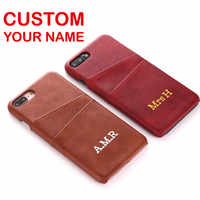 Personalized Genuine Leather Card Slot Gold Silver Custom Your Name Text For iPhone X XR XS Max 6S 7 7Plus 8 8Plus Phone Case