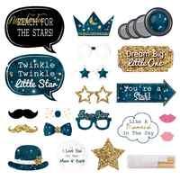 NICROLANDEE Astronaut Photo Booth Requisiten Geburtstag Party Teleskop Gold Glitter Stars Schnurrbart Photobooth Requisiten Decora