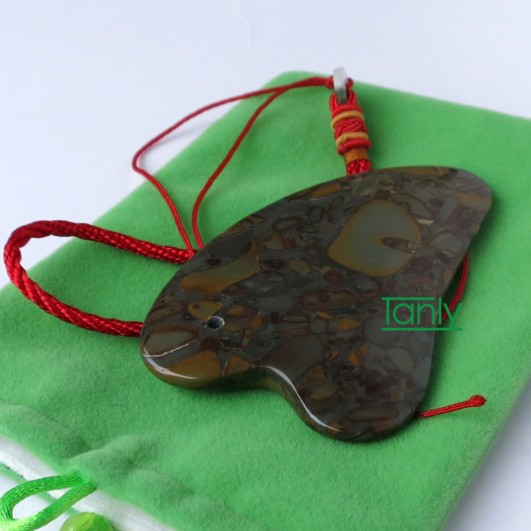 Color stone massage guasha kit beauty face plate (comb shape) gift chart & bag high quality