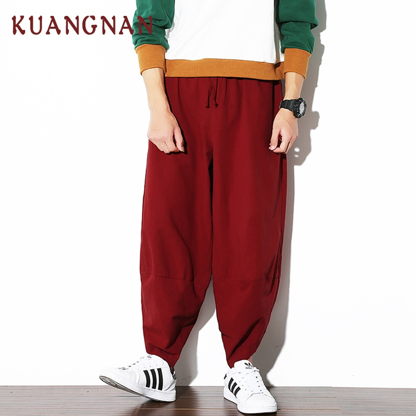 KUANGNAN Trousers Men Japanese Streetwear Pants Chinese-Style Hip-Hop Wide