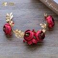 Moda rojo corona celada de la venda de la flor hairband rhinestone hecho a mano Regalos accesorios de la boda de novia fascinator yq085