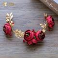 Moda vermelho headband da flor hairband strass handmade Presentes de casamento coroa headpiece noiva fascinator acessórios yq085