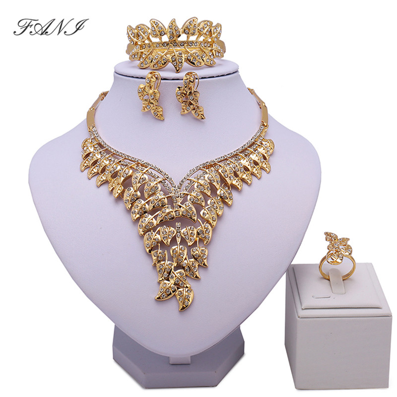 New Fashion Dubai Gold Color Jewelry Sets Costume Big Design Nigerian Wedding African Be ...