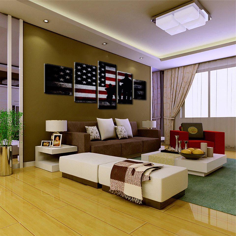 Incroyable Canvas Wall Art Pictures Home Decor Living Room 5 Pieces American Flag With  Soldier Paintings Modern HD Prints Posters Framework In Painting U0026  Calligraphy ...
