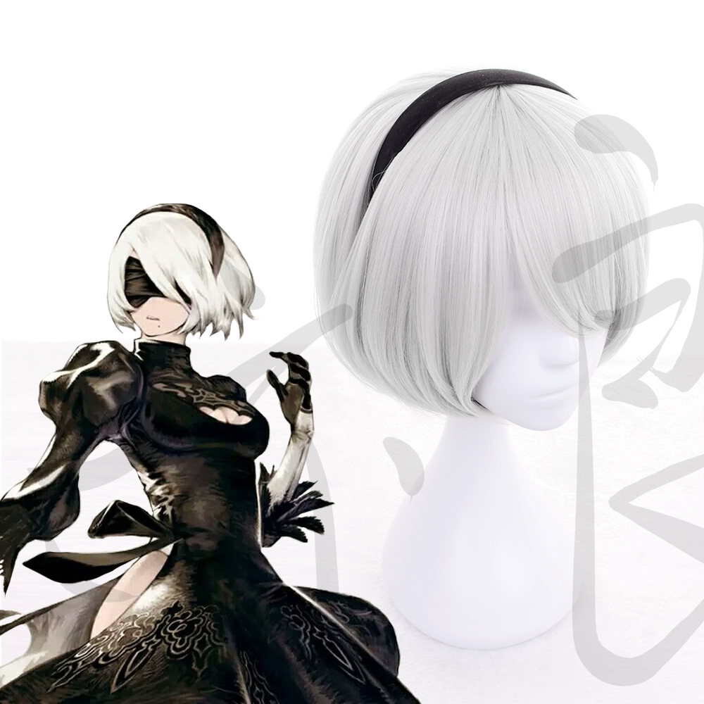 2B Cosplay wig NieR:Automata 2B YoRHa Short Silver Grey Bobo Synthetic Hair Wig 2B Cosplay Halloween Carnival wig +Wig Cap
