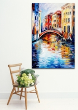 100% Hand-painted Palette Knife Painting London Venice Cityscape Architecture Art Canvas Painting for Home Office Wall Decor