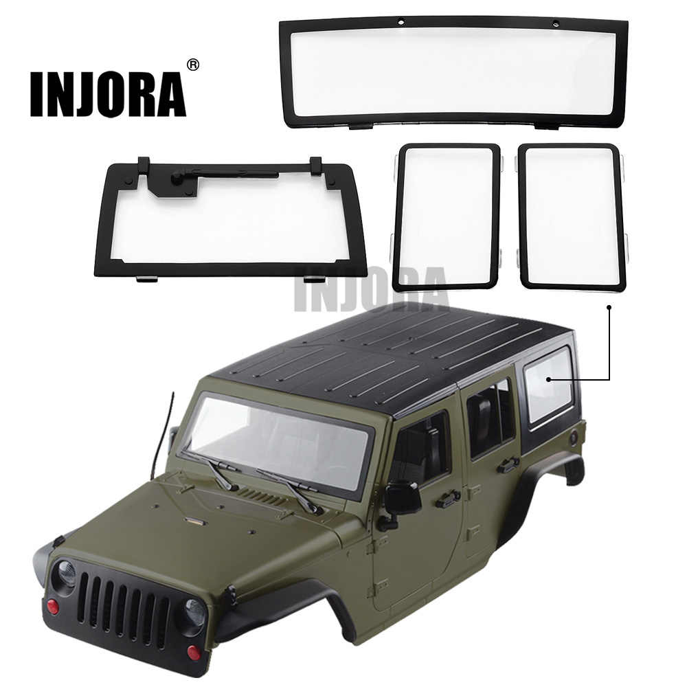 INJORA 4PCS RC Auto Windows voor 1/10 RC Crawler 313mm Wielbasis Jeep Wrangler Body Shell Axiale SCX10 & SCX10 II 90046 90047