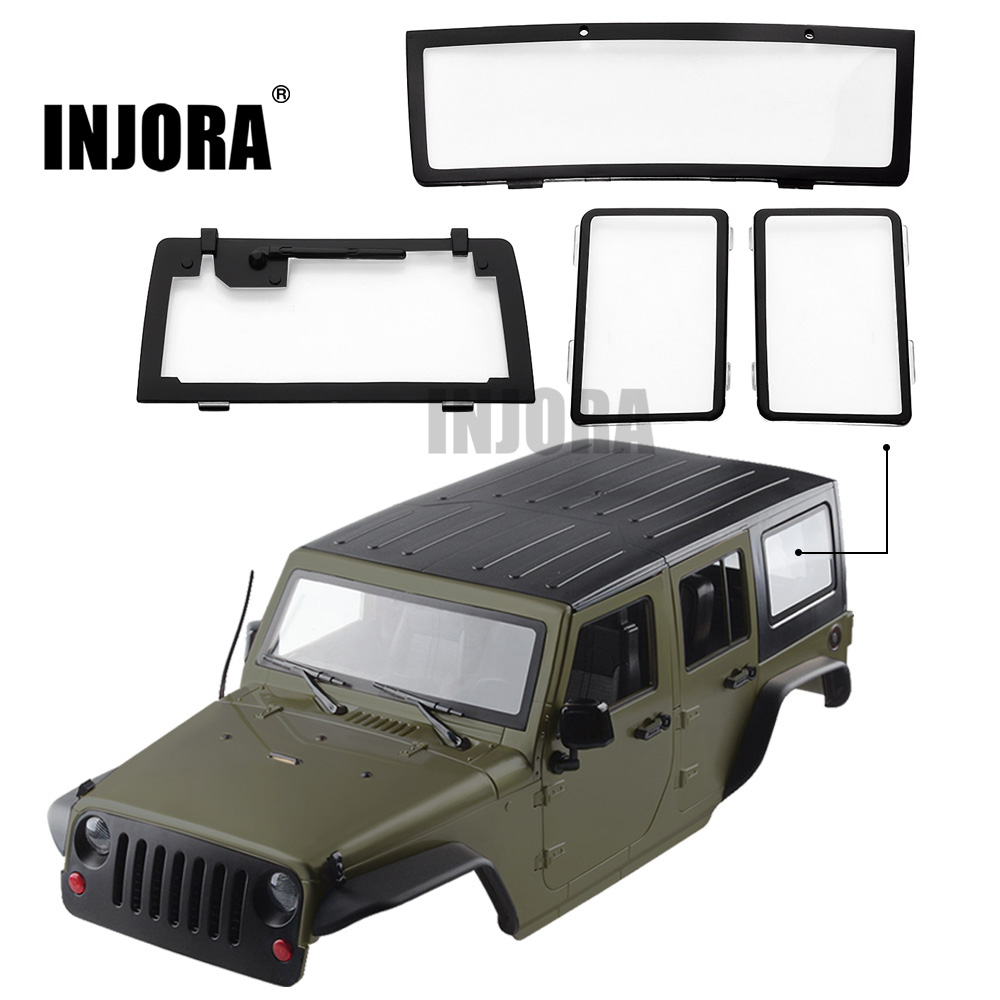 INJORA 4PCS RC Car Windows For 1/10 RC Crawler 313mm Wheelbase Jeep Wrangler Body Shell Axial SCX10 & SCX10 II 90046 90047