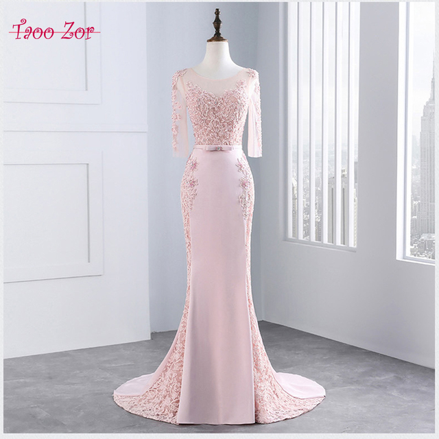 TaooZor 2018 New Beaded Satin Chiffon Long Light Pink Prom Dresses ...