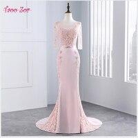 TaooZor 2018 New Beaded Satin Chiffon Long Light Pink Prom Dresses Vintage Cut Out Lace Skirt