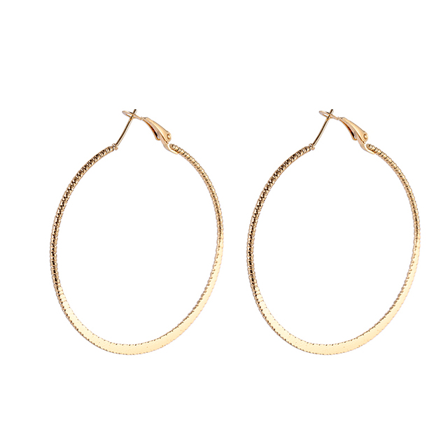 3 Sizes 75/55/45MM Diameter Round Hoop Earrings For Women Punk Fashion Golden Silver Color Texture Circle Loop Earring Gifts