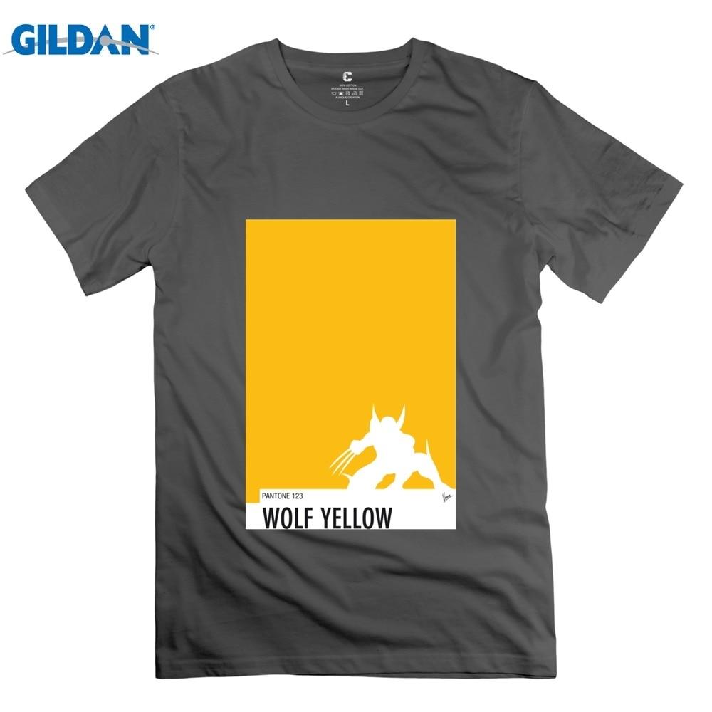 GILDAN Kısa Kollu Benim Superhero 05 Kurt Sarı Minimal Pantone p erkekler t gömlek Toptan Artı Boyutu adam t shirt