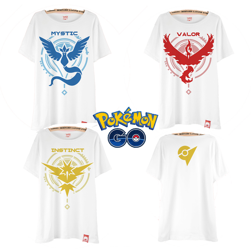 2016 game fans Pokemon camp logo printing Pokemon Go Unisex cotton short sleeved t-shirt size black/wihte Free shipping