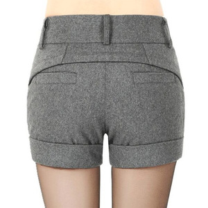 Image 2 - Free Shipping Womens Winter Spring Autumn Shorts Girls Fashion Mid Waist SlimHip Knickers New Arrival Elegant Woolen Shorts