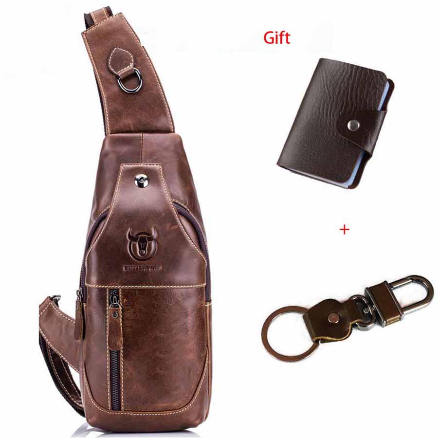 019 Fashion Genuine Leather Crossbody Bags Men Casual Messenger Bag For Short Trip Shoulder Sling Bag Chest Pack Male