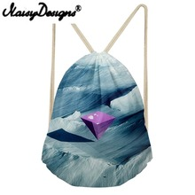 NOISYDESIGNS Inverted pyramid printing Drawstring Backpack for women Tote String Shoulder for Teenagers unisex pouch Mochila