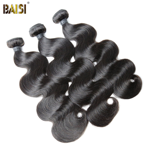 Image 2 - BAISI Hair Brazilian 8A Body Wave Virgin Hair Weave 3 Bundles with Lace Frontal 100% Human Hair
