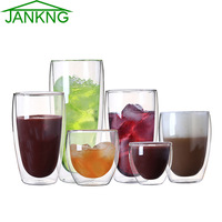JANKNG 1 Pcs Heat Resistant Double Wall Glass Cup Beer Coffee Cup Set Handmade Creative Beer