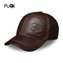 HL125 free shipping genuine leather baseball cap in men brand new warm real cow leather caps hats