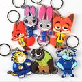 Hottest Zootopia Figures Key Chain Ring Toys Doll Set Cartoon Animal Key Holder