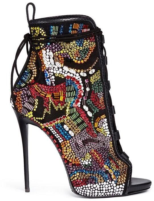 Mujer Zapatos Alto Toe Vestidos Mujeres Fiesta Últimas Tacón Botas Peep Rhinestone De Up Embellecido Botines Multicolor Encaje UxwqRn1v