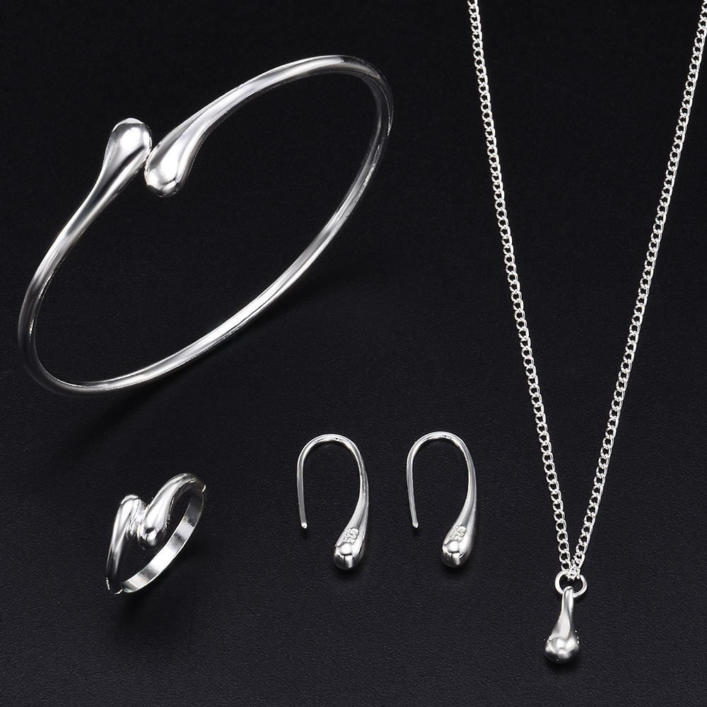 4Pcs/Set Luxury Gold Color For Fashion Women Wedding Necklace Bracelet Earring Ring Jewelry Bridal Wedding Jewelry Sets