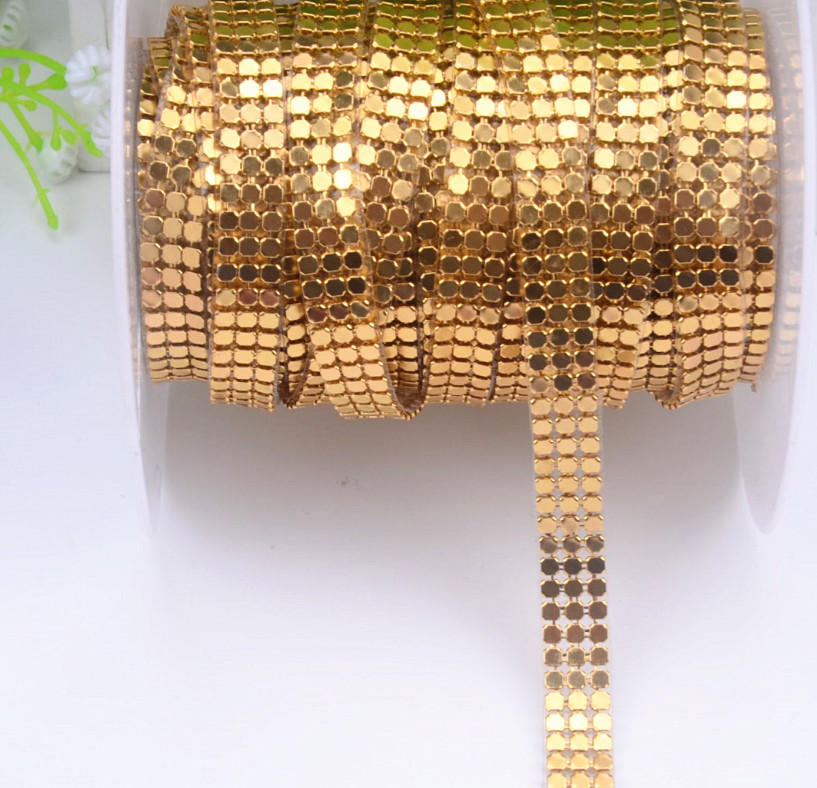 3mm 1cm Width 3rows/lot Mesh Metal Rhinestone 3 Color Trim Sewing Strass Crystal Bridal Applique Roll For Clothes Placemat