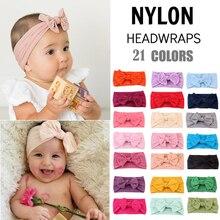 Повязка на голову для новорожденных и малышей; головной убор; детская головная повязка для девочек; аксессуары для волос с бантом для девочек; детская чалма; 21 цвет; Прямая поставка