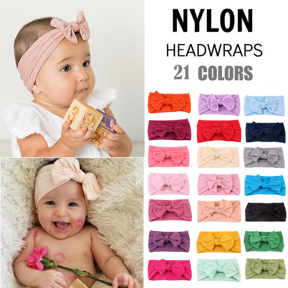 Newborn Toddler Baby Headband Headdress Kids Girl Headbands Girl Bow Knot Hair Accessories Baby Turban 21 Colors Dropshipping