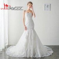 LIYATT Real Picture 2016 Sexy Mermaid Vintage Beach Lace Arabic Beads Wedding Bridal Dress Vestido De