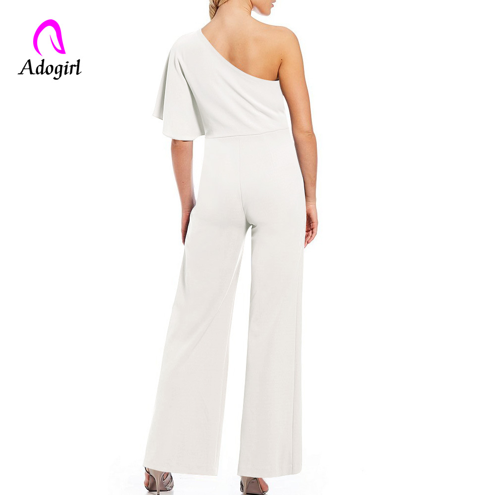Adogirl Sapphire Off Shoulder Rompers Womens White Jumpsuit Long Wide Leg Pants Slash Neck Solid Jumpsuit Elegant Party Jumpsuit in Jumpsuits from Women 39 s Clothing