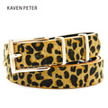 Female Belt Cummerbund Women Horsehair Belt With Leopard Pattern Rose Gold Metal Buckle Women Pu Belt 125 CM Free Shipping
