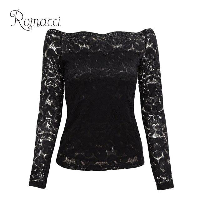 a6e16bc528e Romacci Sexy Women Hollow Out Lace Blouse Off Shoulder Slash Neck Long  Sleeve Shirt Elegant Ladies
