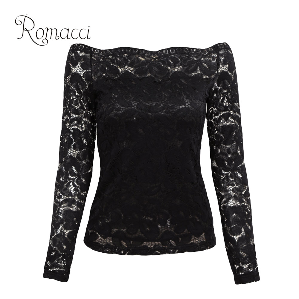 Romacci Sexy Women Hollow Out Lace Blouse Off Shoulder Slash Neck Long Sleeve Shirt
