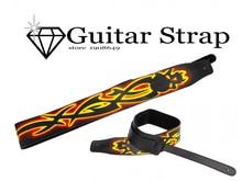 Neue Modische Flammen Muster Kunstleder Einstellbare Gitarrengurt teile und zubehör gitarrengurt strap lock
