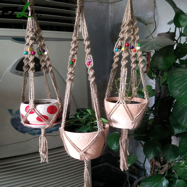 Vintage Knotted Plant Hanger Basket Handmade Braided Jute Rope Flowerpot Holder Macrame Lifting Rope Hanging Basket GB0041