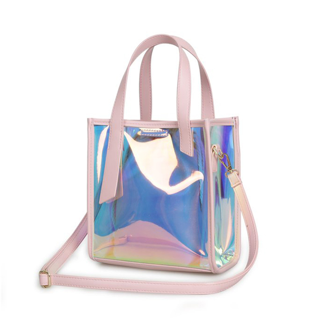 b5eed5d74b4e US $25.54 |Holographic Laser Colorful Hologram Transparent Handbag for  Women Large Capacity Totes Ladies Fashion Rainbow Shoulder Bag-in  Top-Handle ...