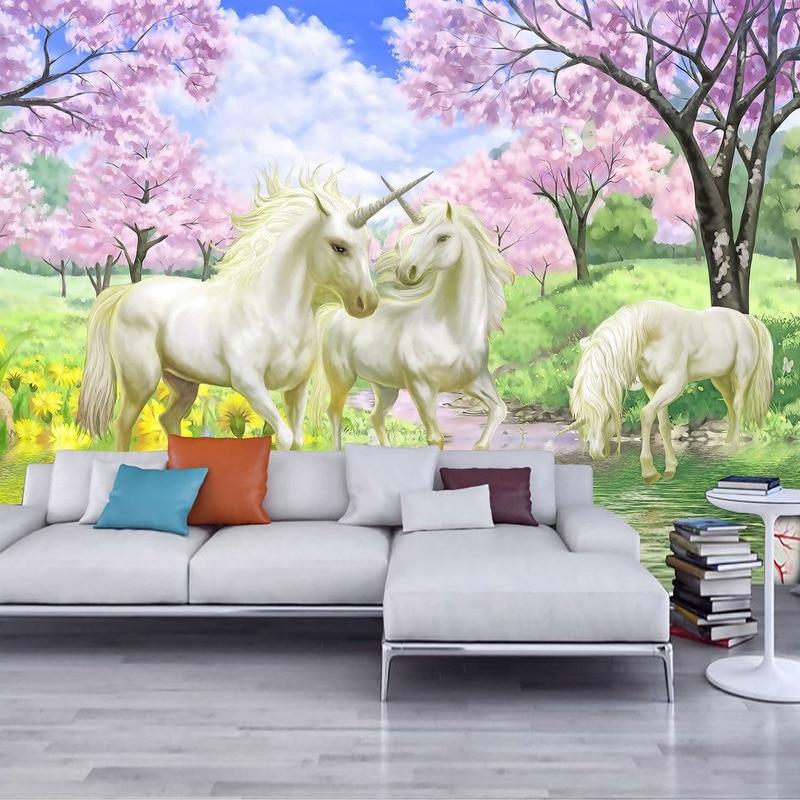 unicorn wall mural cherry bedroom cartoon fairy blossom tale custom fantasy 3d background dream european tv beibehang paper aliexpress