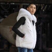 2018 новый реальный лисий мех жилет Для мужчин куртка с капюшоном для мальчиков модные зимние Природные Полный Пелт Пальто с мехом лисы толст