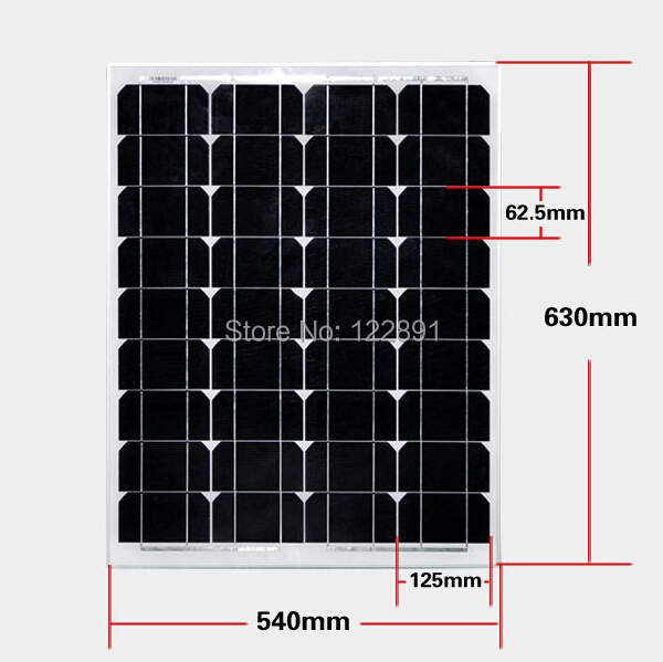 BUHESHUI 50W 18V Monocrystalline silicon Solar Panel Used For 12V photovoltaic Power Home DIY Solar System High Quality