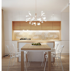 Image 4 - Lâmpada de led para árvore de jantar, luminária moderna de folhas de árvore para sala de jantar, luminárias nodric de estúdio
