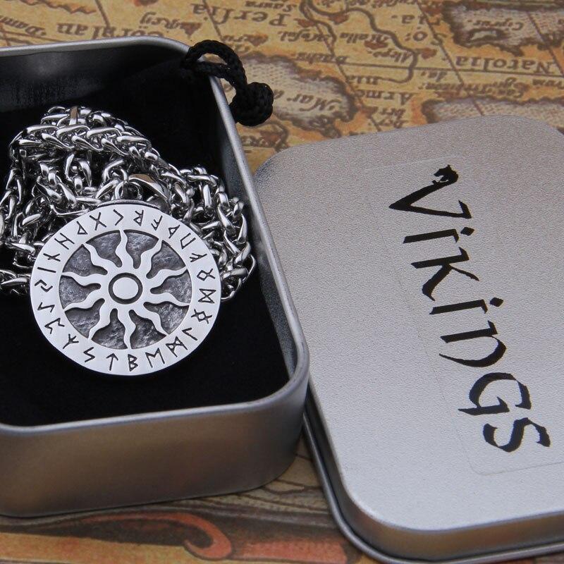 Dropshiping nuovo arrivo in acciaio inox Viking rune ciondolo collana uomini regalo