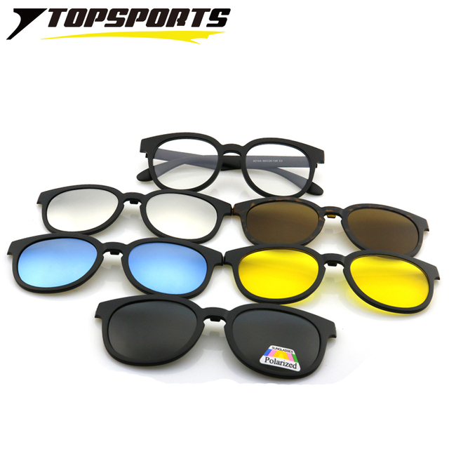 8910837acb TOPSPORTS 5 lenses Polarized Clip On Sunglasses Men women optical round  myopia TR90 frame Glasses driving Magnet prescription