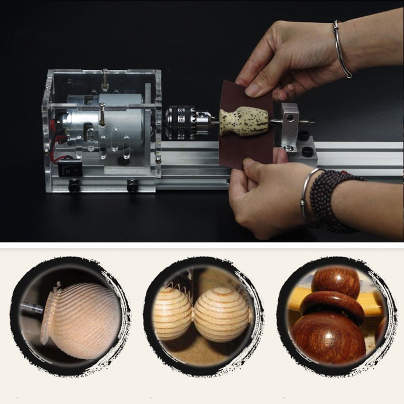 Mini Lathe Beads Machine Woodworking DIY Lathe Polisher Table Saw Grinding Cutting Drill Rotary Tool with Power Supply DC 24V mini multi function table saw bench drill grinding machine with 100w high power cutting machine tool accessories